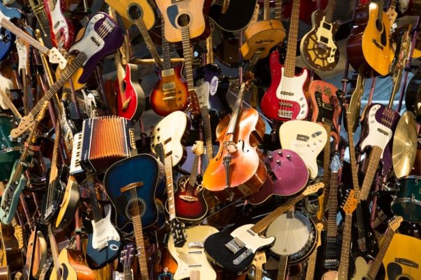 Guitars as you enter the Experience Music Project Museum