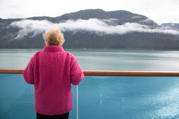 My mum looking out as we get close to Juneau
