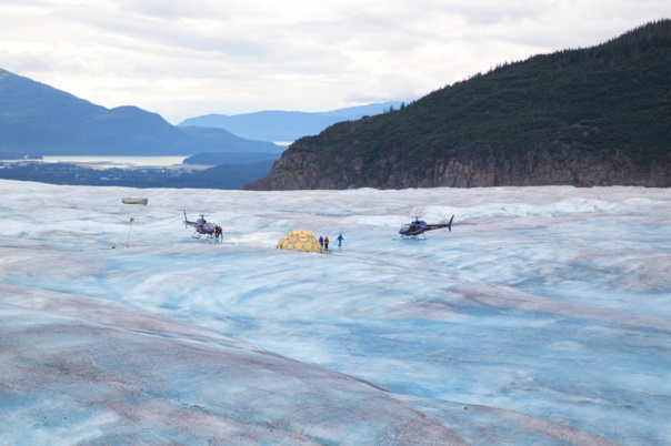 Helicopter landing on the Mendenhall Glacier.