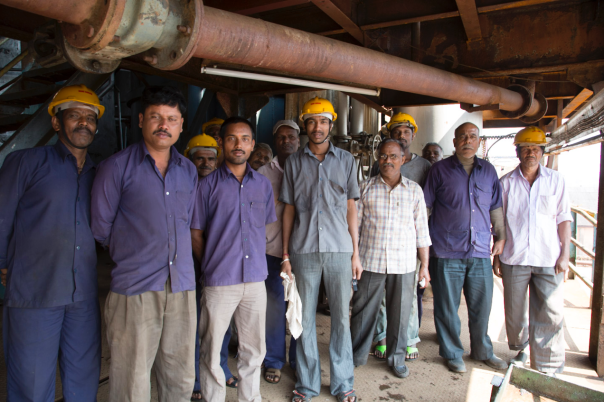 Factory workers at the Nandi Sugarcane factory.